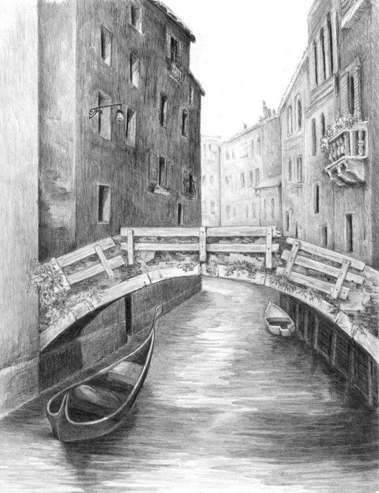 Malování SKICOVACÍMI TUŽKAMI-Benátský most