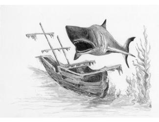 Malování SKICOVACÍMI TUŽKAMI-Žralok
