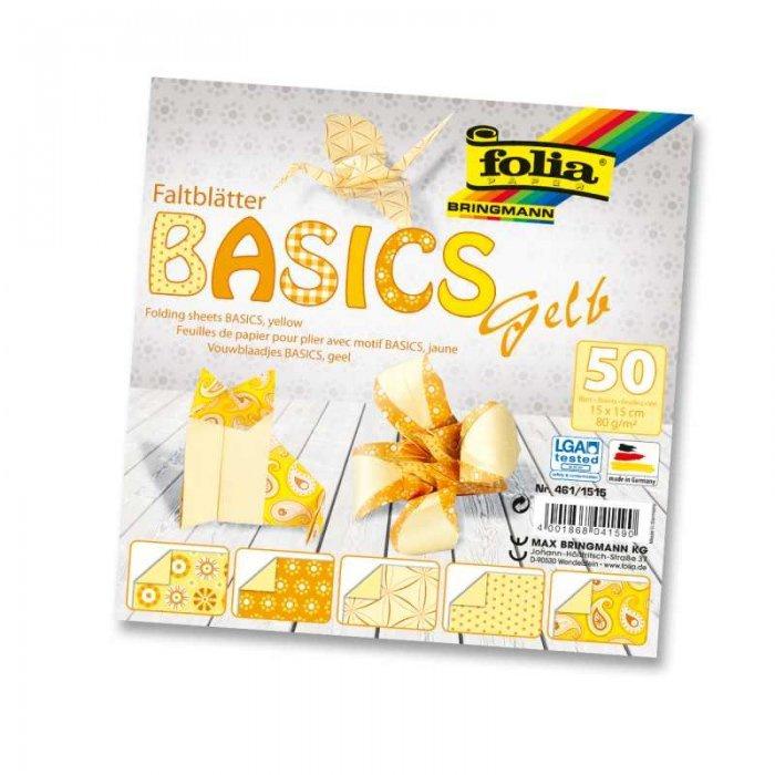 Papíry na skládání Origami, 50 listů, 10x10cm, 80g – žluté