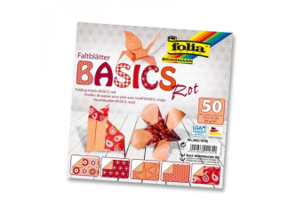 Papíry na skládání Origami, 50 listů, 10x10 cm, 80g – červené