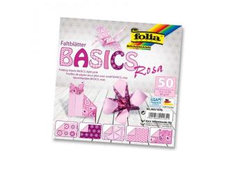 Papíry na skládání Origami, 50 listů, 10x10 cm, 80g – růžové