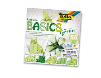 Papíry na skládání Origami, 50 listů, 10x10 cm, 80g – zelené