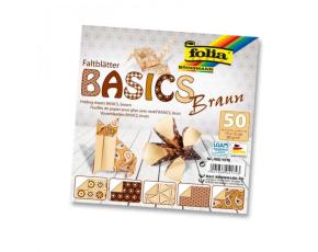 Papíry na skládání Origami, 50 listů, 10x10 cm, 80g – hnědé