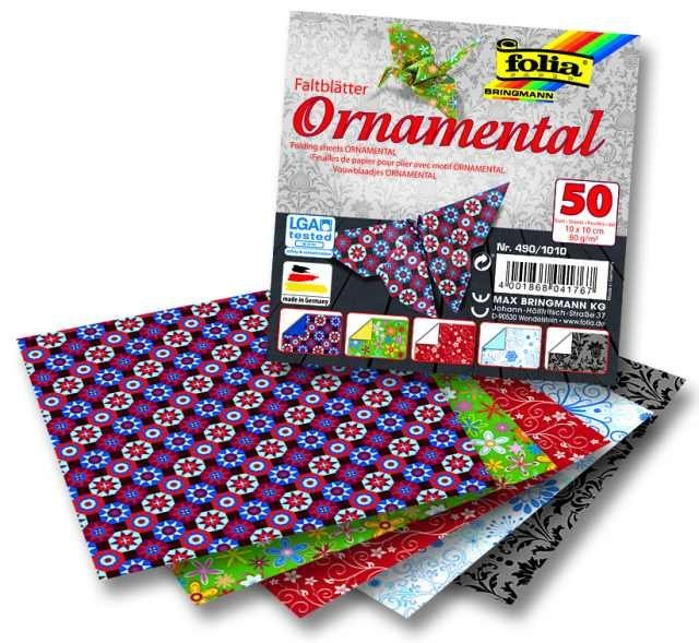 Papíry na skládání Origami, 50 listů, 10x10 cm, 80g – ornamental