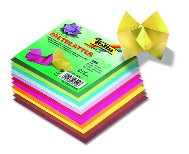 Papíry na skládání Origami, 100 listů, 10x10 cm, 70g – mix barev