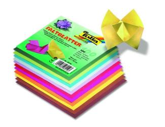 Papíry na skládání Origami, 100 listů, 15x15 cm, 70g – mix barev