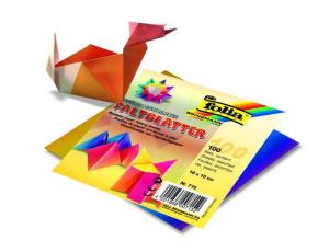 Papíry na skládání Origami -duhové, 100 listů, 10x10 cm, 70g – mix barev