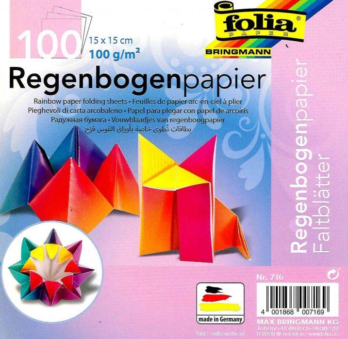 Papíry na skládání Origami- duhové, 100 listů, 15x15 cm, 70g – mix barev