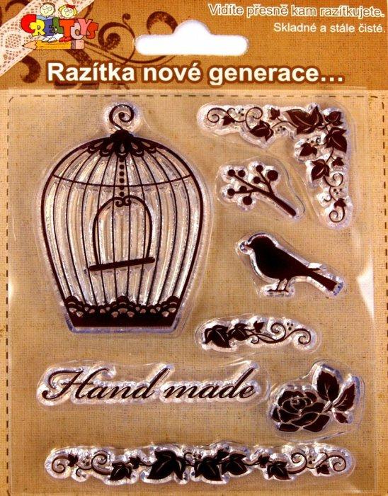 Gelová razítka - ptáček s klecí