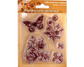 Gelová razítka - motýlek a květiny