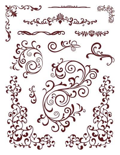 Razítka gelová - bordury, ornamenty