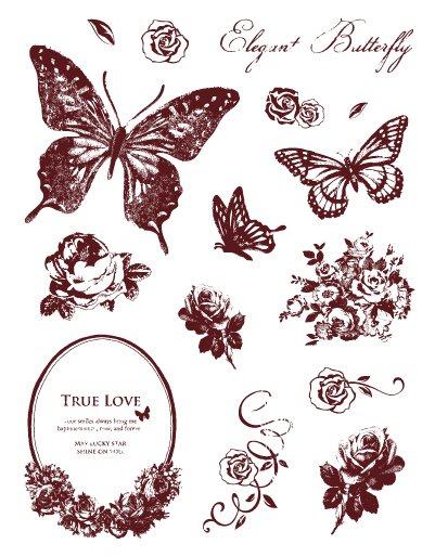 Gelová razítka - motýlci s ornamenty