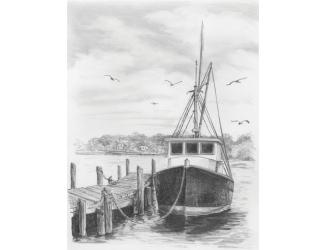 Malování SKICOVACÍMI TUŽKAMI-rybářská loď