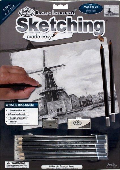 Malování SKICOVACÍMI TUŽKAMI- Větrný mlýn