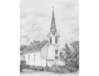Malování SKICOVACÍMI TUŽKAMI- Kostelík