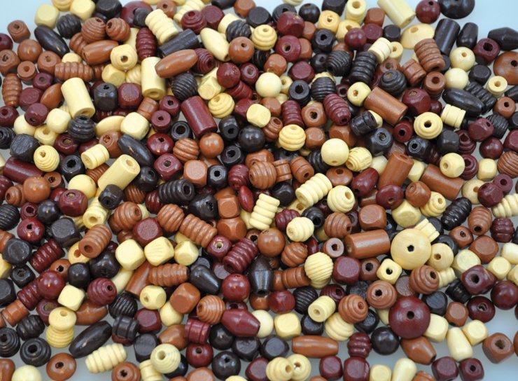 Dřevěné korálky 250gr.