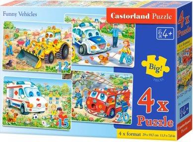 Puzzle Castorland sada 4v1 - Veselá vozidla - sada 8,12,15 a20 dílků(4201)