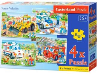 Puzzle sada 4v1- Veselá vozidla - sada 8,12,15 a20 dílků(4201)
