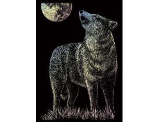 Seškrabovací obrázek - mini - Hologramický - Osamělý vlk