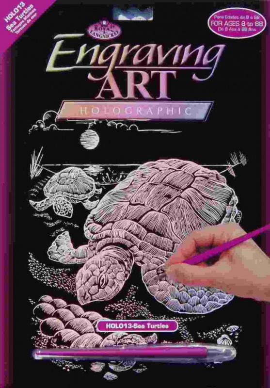 Škrabací obrázek- Holografický- Želvy