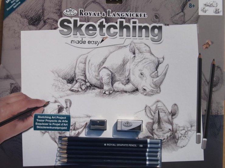 Malování SKICOVACÍMI TUŽKAMI - Nosorožec