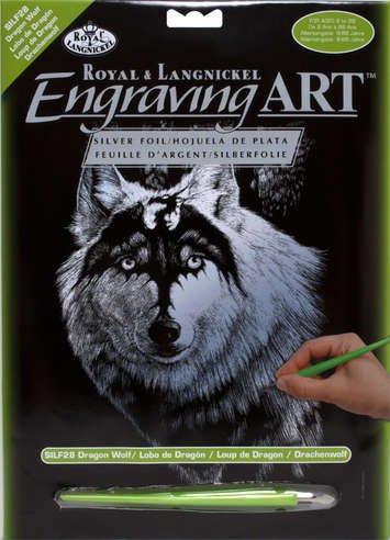 ROYAL and LANGNICKEL Stříbrný vyškrabovací obrázek - Vlk