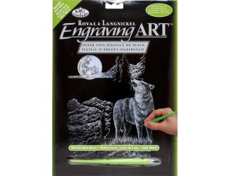 ROYAL and LANGNICKEL Stříbrný vyškrabovací obrázek - Vlk s měsícem