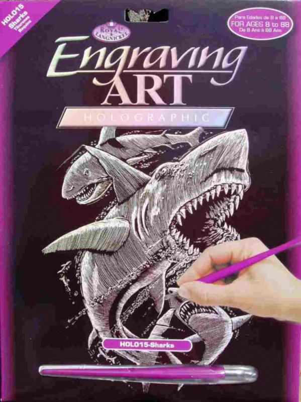 Škrabací obrázek- Holografický- Žralok
