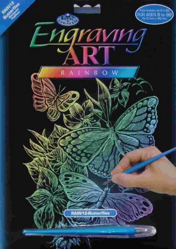 Škrabací obrázek- Duhový- Motýli