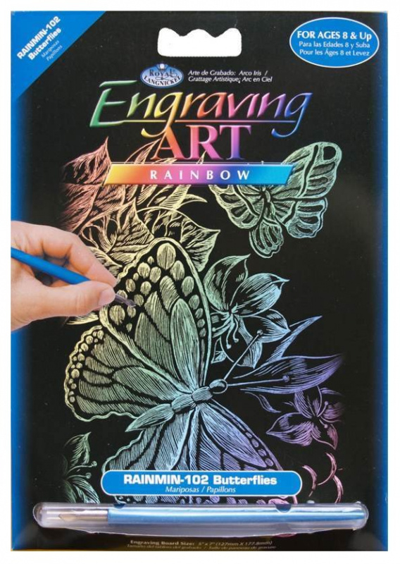 Seškrabovací obrázek- mini- Duhový- motýli