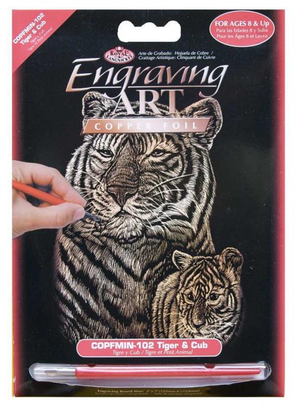 Seškrabovací obrázek- mini- Zlatý- tygři