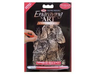 Seškrabovací obrázek- mini- Zlatý- pes s kočkou