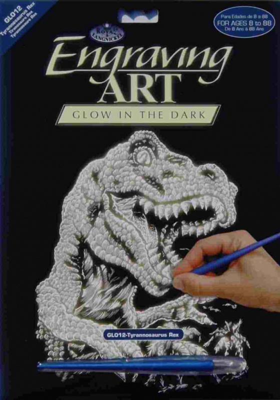 Škrabací obrázek- Svítící ve tmě- Tyranosaurus Rex