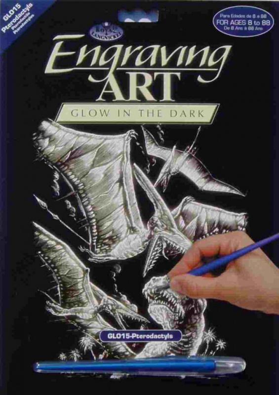 Škrabací obrázek- Svítící ve tmě- Pterodactyl