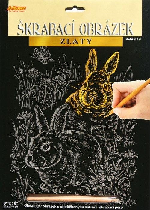 Škrabací obrázek zlatý - Zajíci