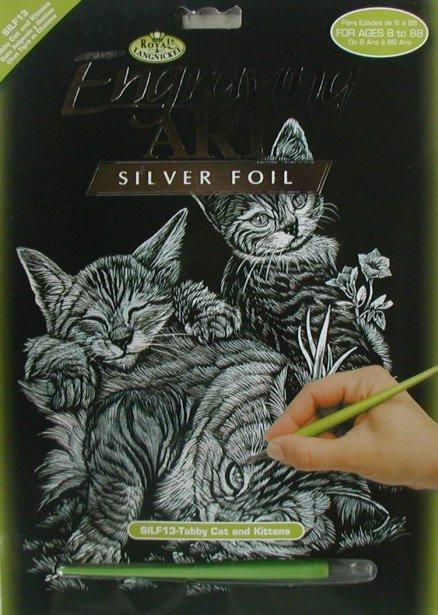 ROYAL and LANGNICKEL Stříbrný vyškrabovací obrázek - Kočky