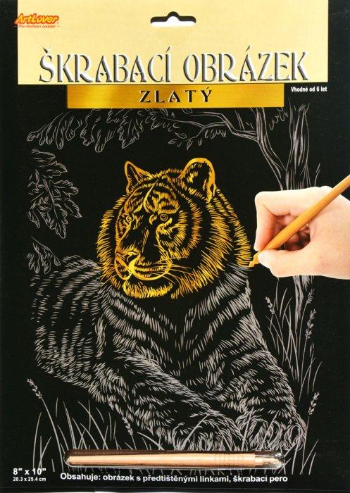 Škrabací obrázek zlatý - Tygr