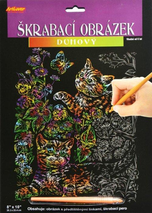 Škrabací obrázek - duhový - Kočičky