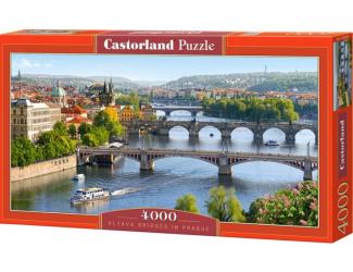 Puzzle 4000 dílků - Praha-mosty přes Vltavu