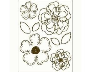 Gelová razítka - Kroucené obrysové kytky a lístečky