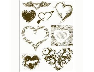 Gelová razítka - Srdce a srdíčka