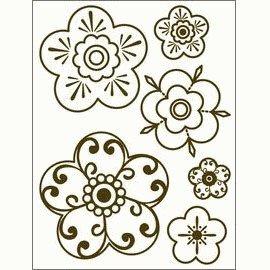 Gelová razítka - Obrysové kytky