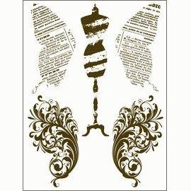 Gelová razítka - Motýlí křídla, krejčovská panna