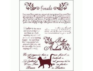 Gelová razítka - Kočka + psané texty