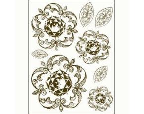 Gelová razítka - Zdobené kytky a lístky