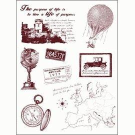 Gelová razítka - Cestování - mapa,balon,globus,...