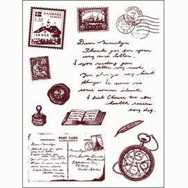 Gelová razítka - Cestování - kompas,pohlednice,poštovní známka, ...