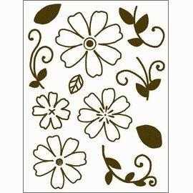 Gelová razítka - Obrysové kytky se stonky a lístky