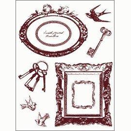 Gelová razítka - Rámečky, klíče, ptáčci