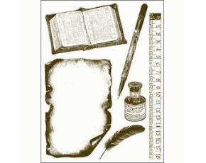 Gelová razítka - Kniha,pravítko,psací pero,...